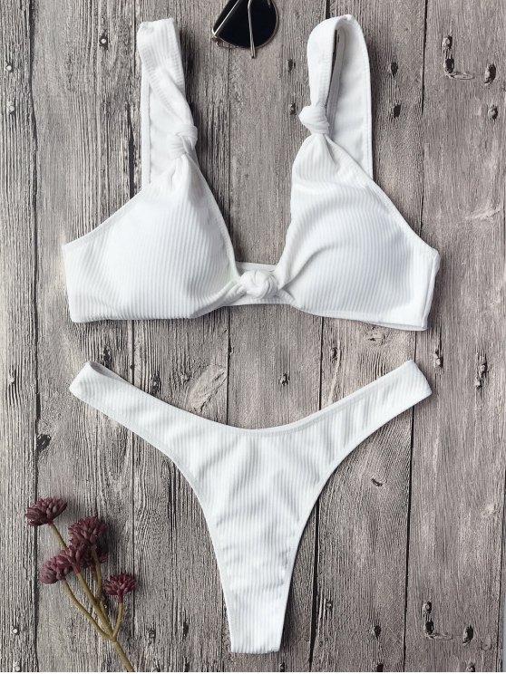 best Textured Knotted Bralette Thong Bikini Set - WHITE S