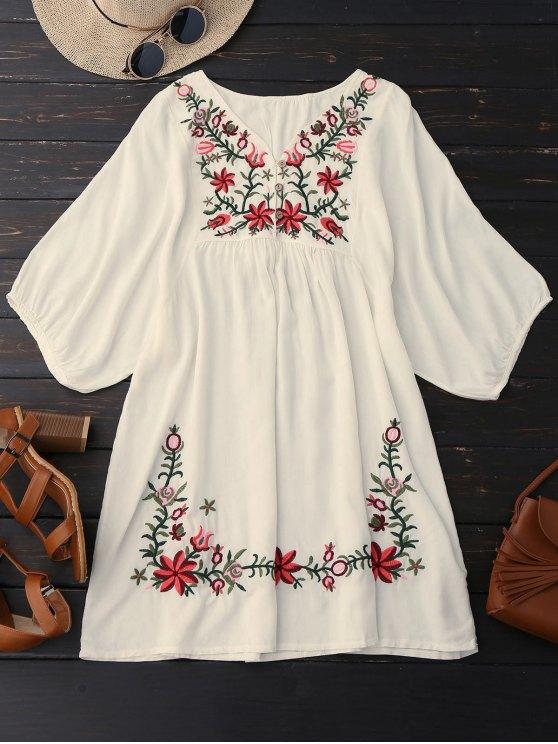 Vestido de Campesino con Cuello en V con Bordado Floral - Palomino Única Talla