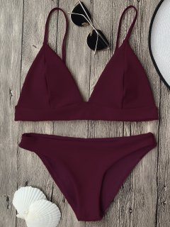 Cami Plunge Bralette Bikini Top And Bottoms - Burgundy M