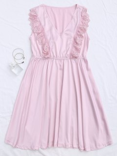 Lace Panel V Neck Satin Sleep Dress - Pink M