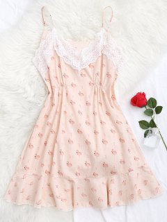 Flamingo Print Lace Panel Cami Sleep Dress - Pink S