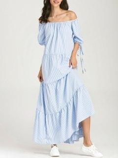 قبالة الكتف مخطط فستان ماكسي - الشريط الأزرق L