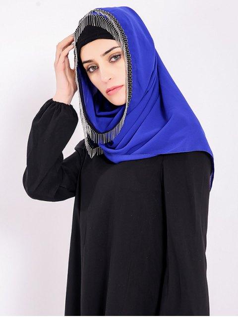 chic Chiffon Muslim Gossamer Metal Fringed Hijab Headscarf - ROYAL  Mobile