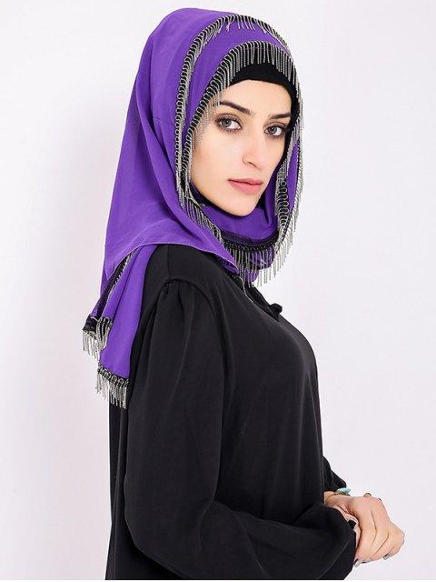latest Chiffon Muslim Gossamer Metal Fringed Hijab Headscarf - PURPLE  Mobile