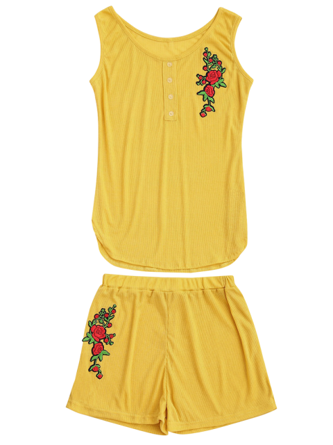 buy Embroidered Ribbed Tank Top and Knitting Short - YELLOW L Mobile