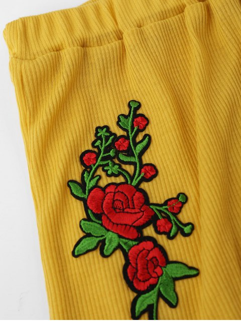 womens Embroidered Ribbed Tank Top and Knitting Short - YELLOW M Mobile