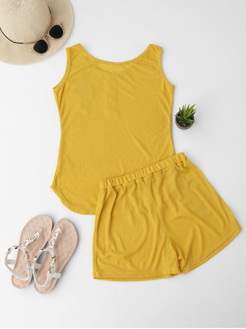 women Embroidered Ribbed Tank Top and Knitting Short - YELLOW S Mobile