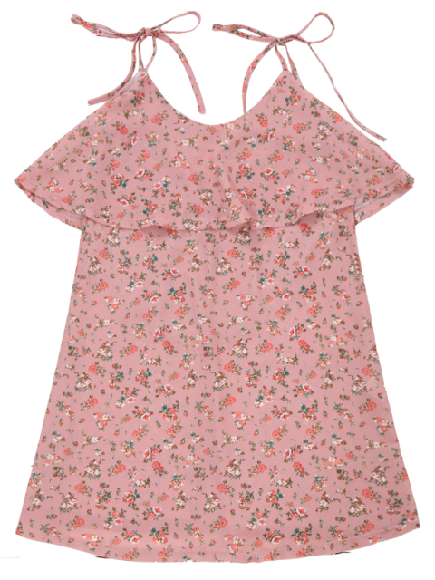 affordable Cami Floral Ruffle Backless Dress - LIGHT PINK S Mobile