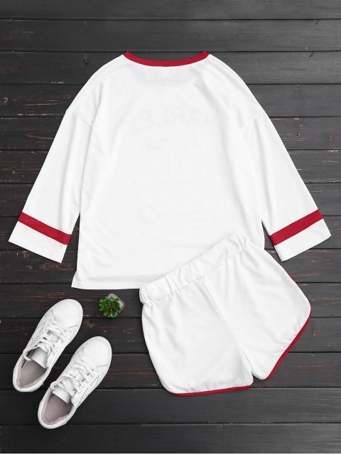 buy Graphic Ringer Top and Drawstring Shorts - WHITE L Mobile