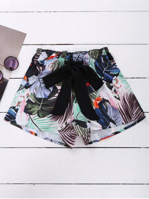 women Tie Front Plant Print Beach Shorts - COLORMIX S Mobile