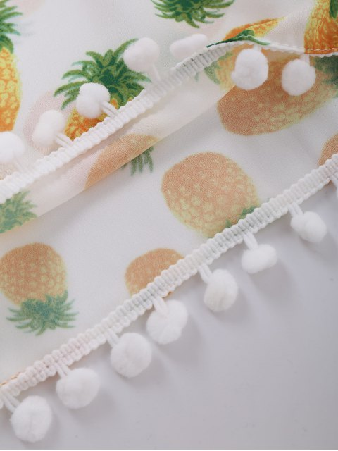 best Pineapple Print Shorts With Pompon - WHITE M Mobile