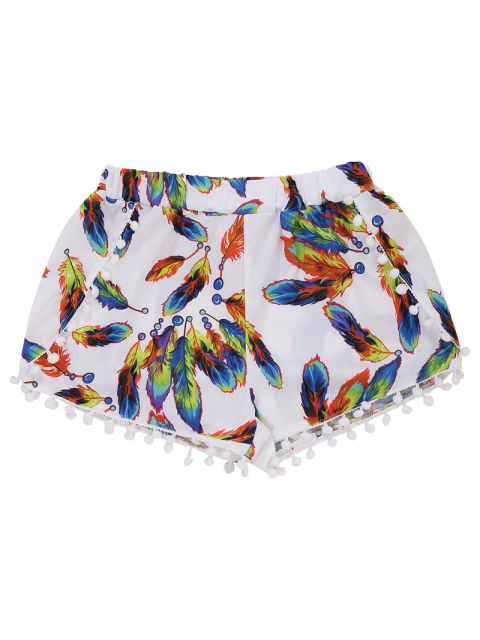 outfit Feather Print Hot Shorts With Pompon - WHITE M Mobile