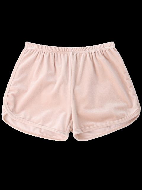 women Elastic Waist Casual Velvet Shorts - PINK S Mobile