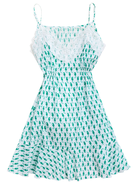 outfit Sea Horse Print Lace Panel Cami Sleep Dress - GREEN S Mobile