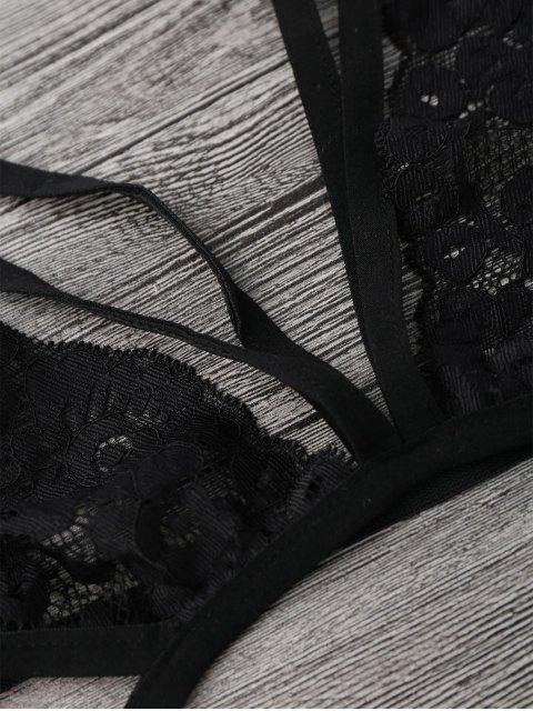 best Sheer Lace Caged Lingerie Bra - BLACK S Mobile