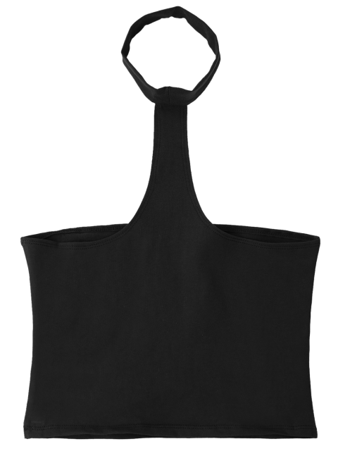 hot Cropped Racerback Tank Top - BLACK ONE SIZE Mobile
