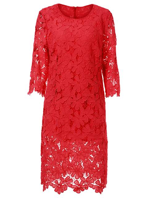 unique Round Neck 3/4 Sleeve Full Lace Bodycon Dress - RED L Mobile