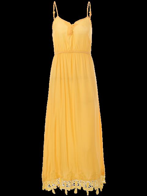 women Lace Panel Cami Midi Dress - YELLOW L Mobile