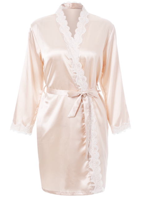 best Lace Panel Sleep Wrap Robe - CHAMPAGNE XL Mobile