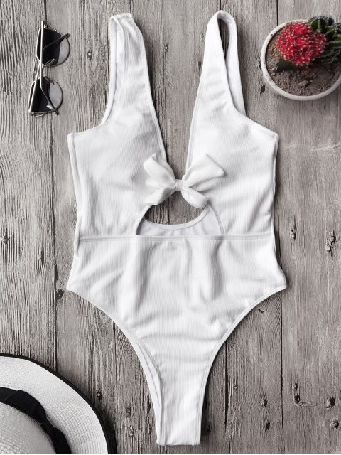 hot Bowknot Textured High Cut One Piece Swimsuit - WHITE L Mobile