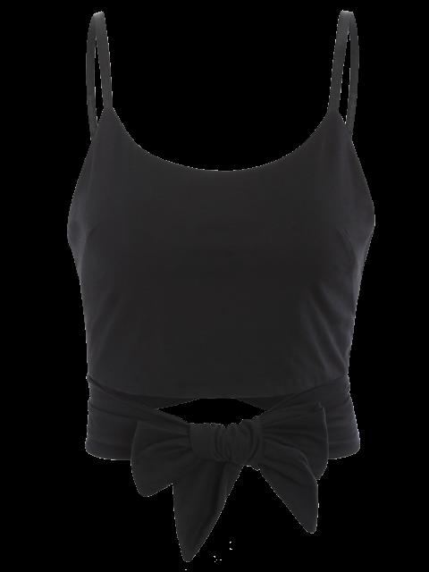 ladies Self Tie Cami Cropped Tank Top - BLACK M Mobile
