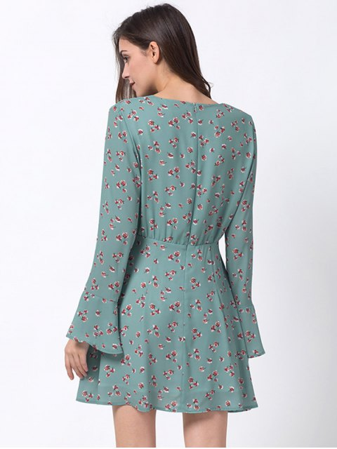 online Tiny Floral Flare Sleeve Chiffon Dress - ICE BLUE 2XL Mobile