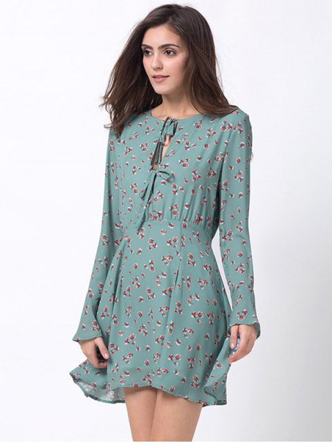 hot Tiny Floral Flare Sleeve Chiffon Dress - ICE BLUE L Mobile