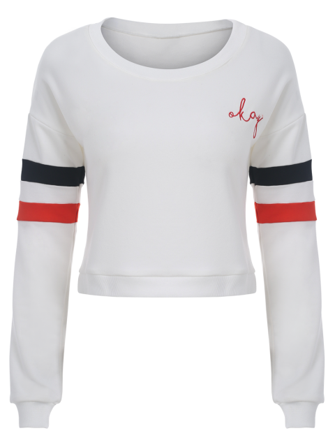 ladies Color Block Cropped Sweatshirt - WHITE L Mobile
