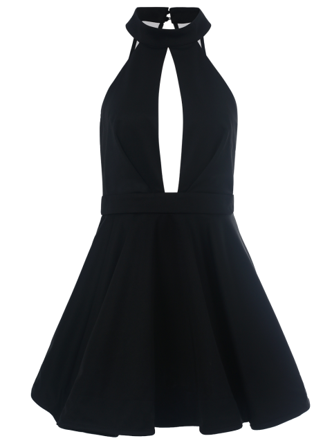 new Cut Out Stand Collar Voile Spliced Dress - BLACK L Mobile