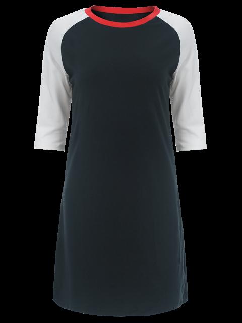 fashion Raglan Sleeve Tunic T-Shirt Dress - PURPLISH BLUE S Mobile