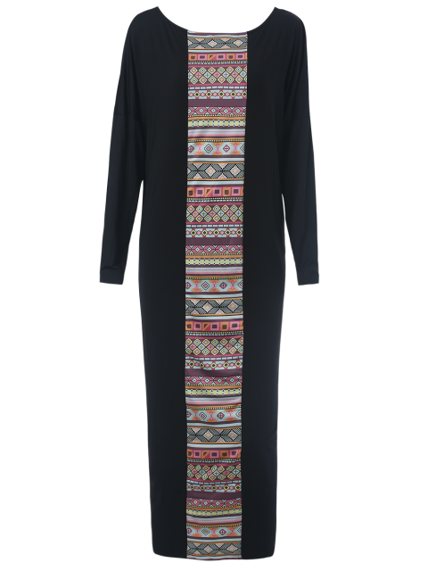 shops Batwing Sleeve Tribal Print Maxi Dress with Pocket - BLACK L Mobile