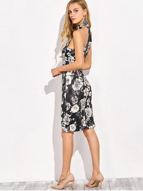 hot Halter Neck Floral Print Pencil Dress - FLORAL M Mobile
