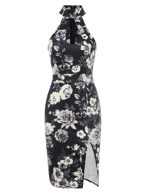outfit Halter Neck Floral Print Pencil Dress - FLORAL S Mobile