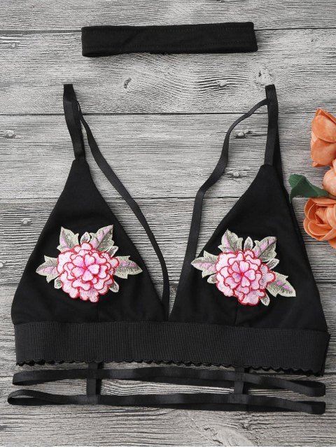 chic Strappy Caged Bralette Top with Choker - BLACK M Mobile