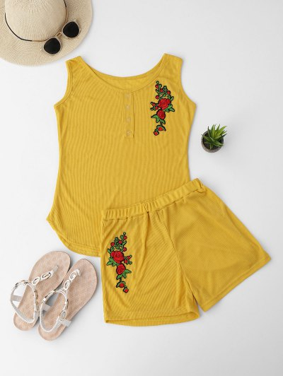 Embroidered Ribbed Tank Top And Knitting Short - Yellow