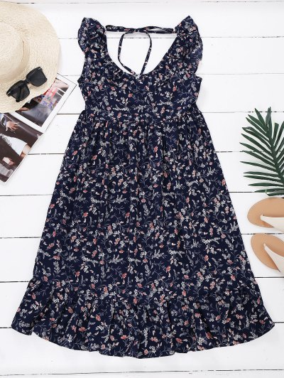 Sleeveless Floral Ruffle Midi Dress - Floral