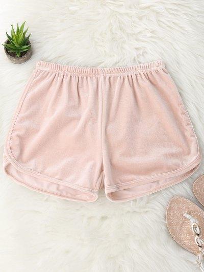 Elastic Waist Casual Velvet Shorts - Pink