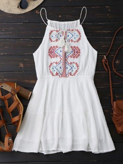Embroidered Tassel Sundress - White