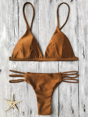 Padded Bikini Top And Braided String Bottoms - Brown