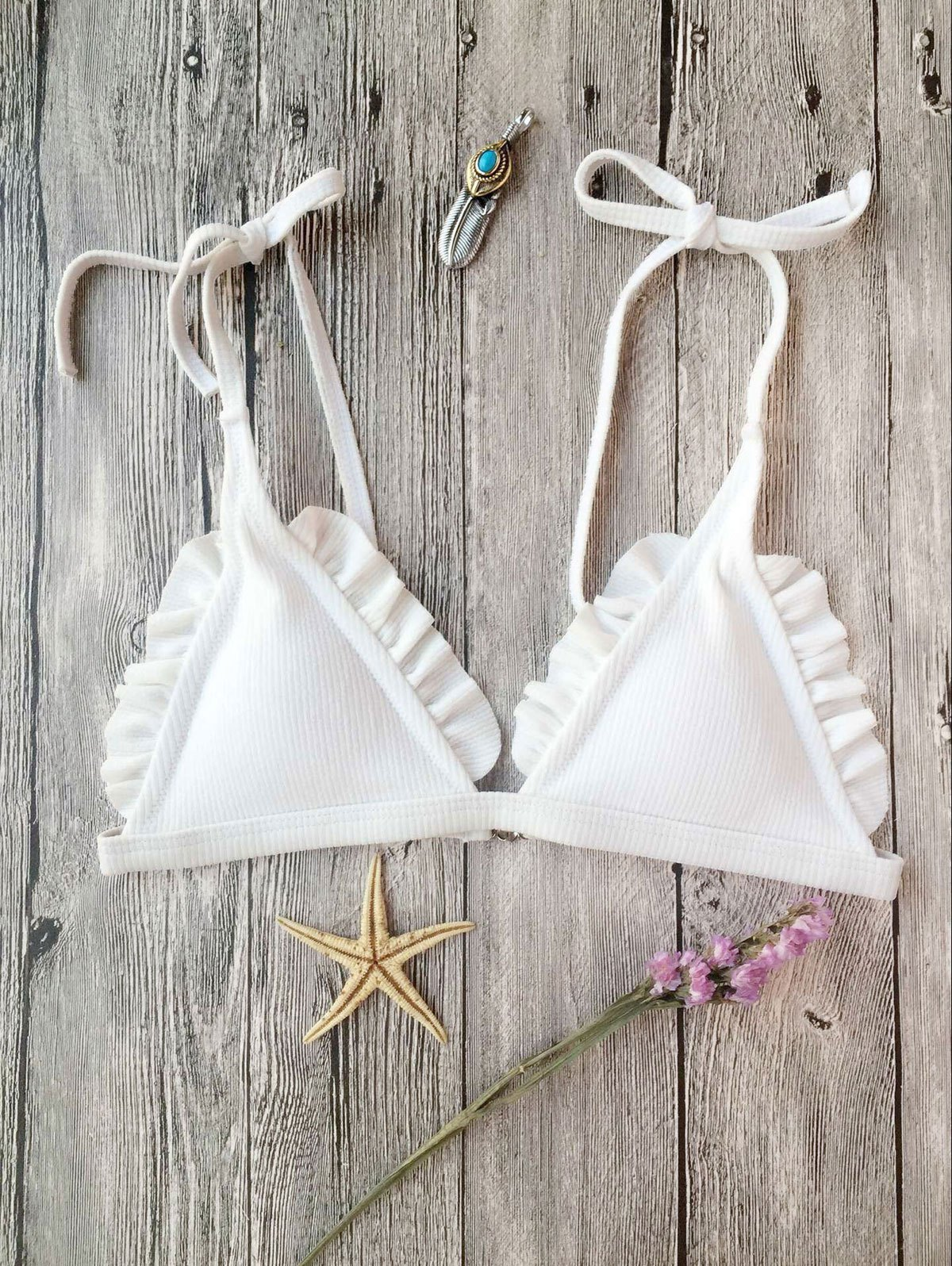 Rib Textured Frilled Bikini Top, White