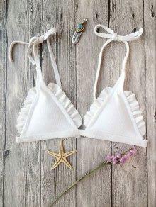 Buy Rib Textured Frilled Bikini Top - WHITE L