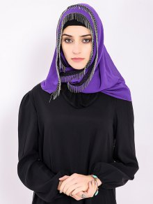Chiffon Muslim Gossamer Metal Fringed Hijab Headscarf