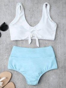 Bikinis blanc et bleu taille haute