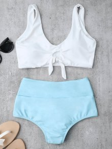 Knotted High Waisted Ruched Bikini Set - Azure
