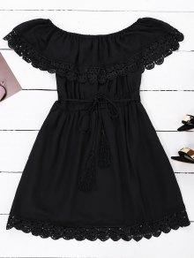 Off Shoulder Chiffon Dress With Belt - Black M