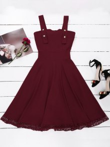 Lace Panel Sleeveless Fit And Flare Dress - Wine Red M