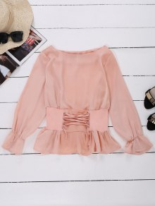 Satin Lace Up Waistband Blouse - Pink L