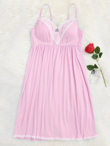 Padded Lace Trim Cami Sleep Dress - Pink L