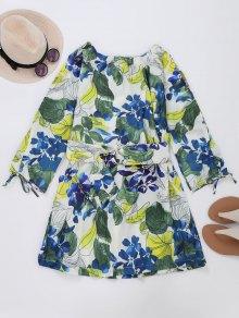 Drawstring Sleeve Floral Blouson Dress