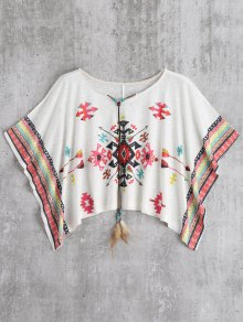 Oversized Cape Jacquard Blouse - White M